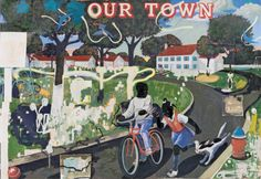 3681-007.jpg Kerry James Marshall Our Town, 1995 acrylic and collage on canvas overall: 254 x 314.96 cm (100 x 124 in.) Crystal Bridges Museum of American Art, Bentonville, Arkansas