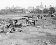 "1837, Manhattan, New York City, New York State, USA --- Original caption: New York City: Depression shacks ""Hoover Village"" in the old Central Park reservoir. Undated photograph. --- Image by © Bettmann/CORBIS"
