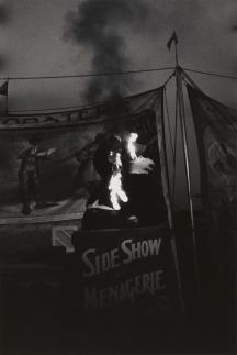 Fire Eater at a carnival, Palisades Park, N.J. 1957