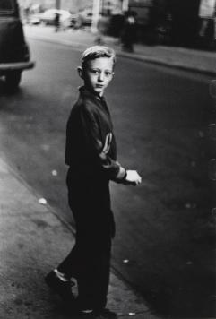 Boy stepping off the curb, N.Y.C. 1957-58