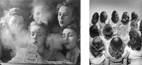 Left: Members of the Young Women's Republican Club of Milford, CT, 1941. Right: